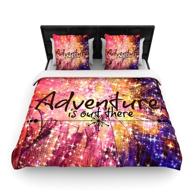 Ebi Emporium Adventure is Out There Typography Woven Duvet Cover Size: Full/Queen