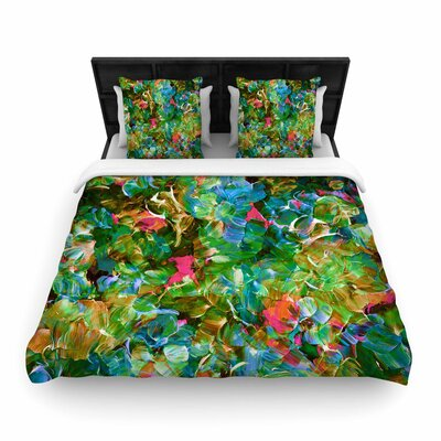 Ebi Emporium Bloom On! Woven Duvet Cover Size: King, Color: Green/Blue