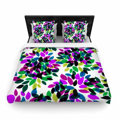 Ebi Emporium Dahlia Dots Woven Duvet Cover Color: Purple/Green, Size: King
