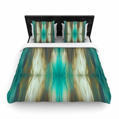 Ebi Emporium Butterfly Tribal Woven Duvet Cover Size: Twin, Color: Magenta/Green