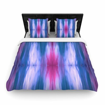 Ebi Emporium Butterfly Tribal Painting Woven Duvet Cover Size: King, Color: Blue/Magenta