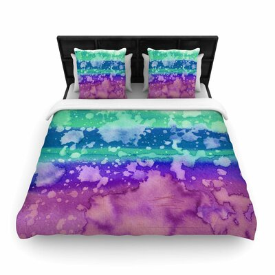 Ebi Emporium California Surf  Woven Duvet Cover Size: King, Color: Teal/Purple