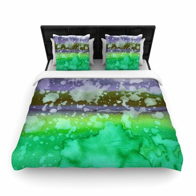 Ebi Emporium California Surf  Woven Duvet Cover Color: Green/Teal, Size: Full/Queen
