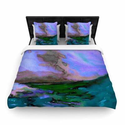 Ebi Emporium Elevated Woven Duvet Cover Size: Full/Queen, Color: Purple/Blue