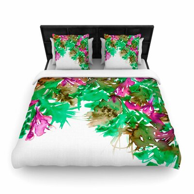 Ebi Emporium Floral Cascade Woven Duvet Cover Size: Full/Queen, Color: Pink/Green