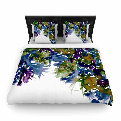 Ebi Emporium Floral Cascade Woven Duvet Cover Size: King, Color: Purple/Green