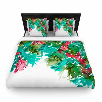 Ebi Emporium Floral Cascade Woven Duvet Cover Size: Full/Queen, Color: Teal/Red