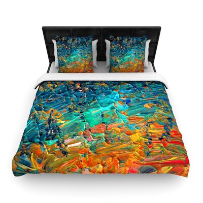Ebi Emporium Eternal Tide Woven Duvet Cover Size: Twin, Color: Teal/Orange
