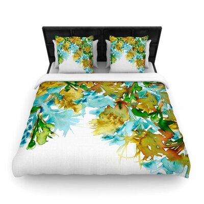 Ebi Emporium Floral Cascade Woven Duvet Cover Color: Yellow/Green, Size: Full/Queen