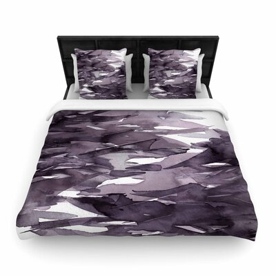 Ebi Emporium Fervor Abstract Watercolor Woven Duvet Cover Color: Purple/Lavender, Size: King