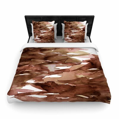 Ebi Emporium Fervor Abstract Watercolor Woven Duvet Cover Color: Brown/Tan, Size: Full/Queen