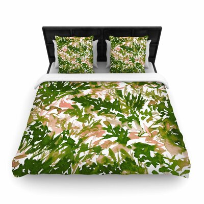 Ebi Emporium In the Meadow Woven Duvet Cover Size: Twin, Color: Green/Pink