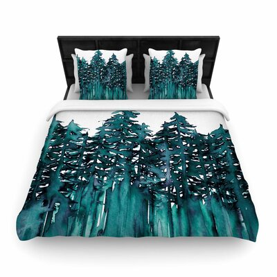 Ebi Emporium Forest Through the Trees Woven Duvet Cover Size: King, Color: Teal/White