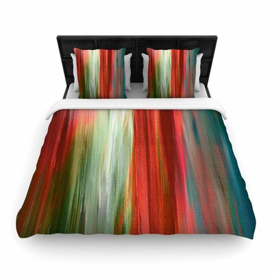 Ebi Emporium Irradiated Multi Olive Woven Duvet Cover Size: Twin, Color: Red/Olive