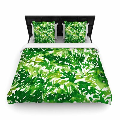 Ebi Emporium In the Meadow Woven Duvet Cover Color: Green/White, Size: King