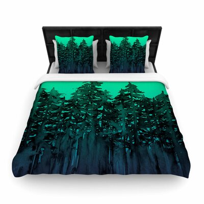 Ebi Emporium Forest Through the Trees Woven Duvet Cover Size: Full/Queen, Color: Purple/Black