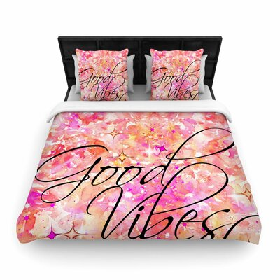 Ebi Emporium Good Vibes Only Woven Duvet Cover Color: Pink/Yellow, Size: King