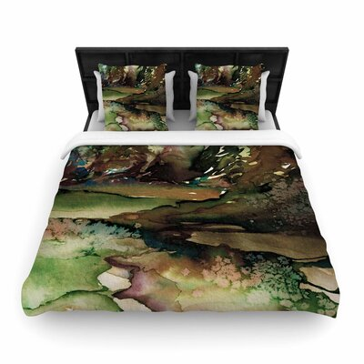 Ebi Emporium Never Leave the Path Woven Duvet Cover Size: Full/Queen, Color: Purple/Black