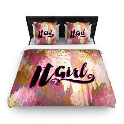 Ebi Emporium It Girl-Black and Pink Woven Duvet Cover Size: Full/Queen