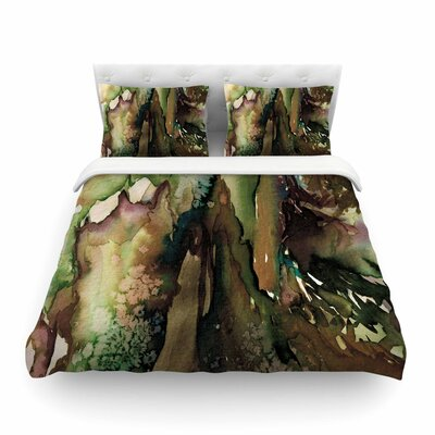 Ebi Emporium Never Leave the Path Featherweight Duvet Cover Size: King, Color: Brown/Olive