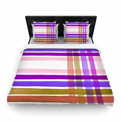 Ebi Emporium Plaid Stripes in Color 6 Woven Duvet Cover Size: Full/Queen