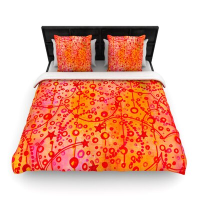 Ebi Emporium Make a Wish Woven Duvet Cover Size: Full/Queen, Color: Orange/Red