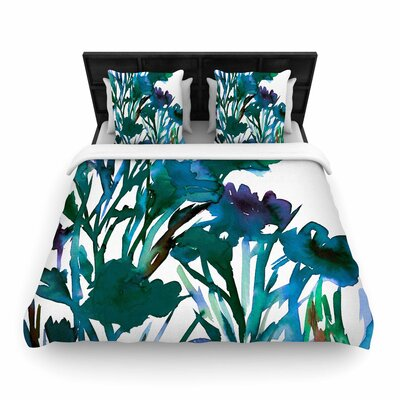 Ebi Emporium Petal for Your Thoughts Teal Woven Duvet Cover Size: Twin