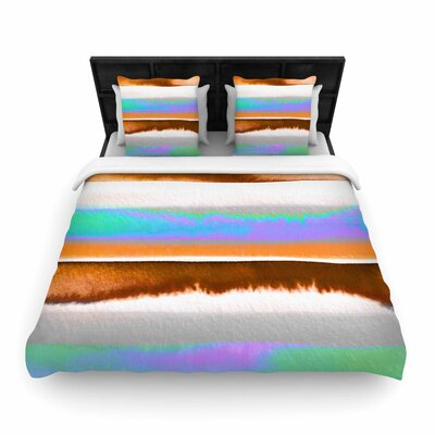 Ebi Emporium Prism Stripe Woven Duvet Cover Size: Full/Queen, Color: Purple/Aqua