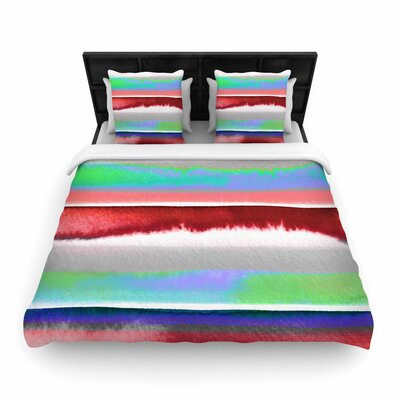 Ebi Emporium Prism Stripe Woven Duvet Cover Color: Red/Blue, Size: Full/Queen