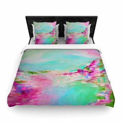 Ebi Emporium Something About the Sea Woven Duvet Cover Color: Teal Pink, Size: King