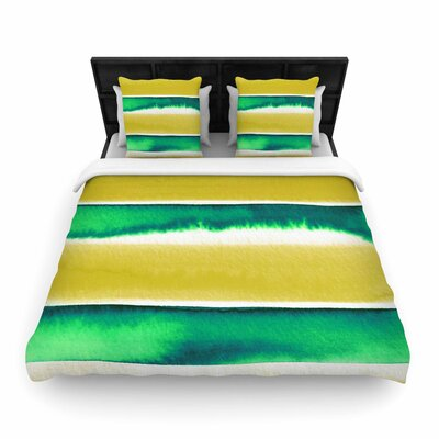 Ebi Emporium Summer Vibes Woven Duvet Cover Color: Yellow Green