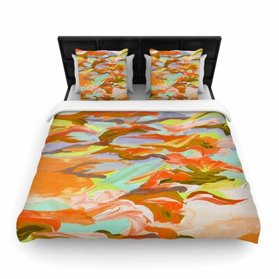 Ebi Emporium 'Still Up' Duvet Cover Size: King, Color: Yellow/Orange
