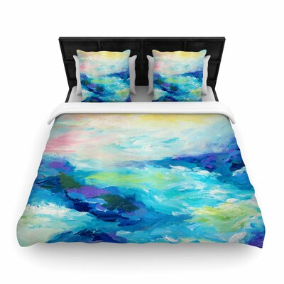 Ebi Emporium Taken By the Undertow Woven Duvet Cover Size: King, Color: Green/Blue