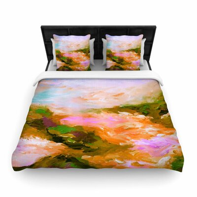Ebi Emporium Taken By the Undertow Woven Duvet Cover Color: Pink/Orange, Size: King