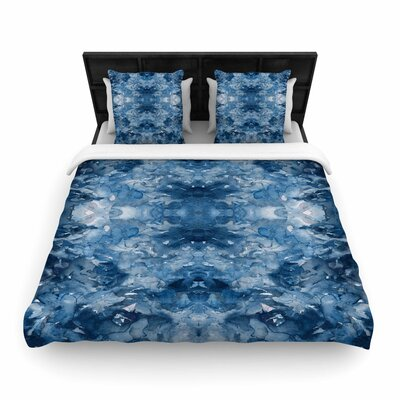 Ebi Emporium Tie Dye Helix Woven Duvet Cover Color: Blue/White, Size: Full/Queen