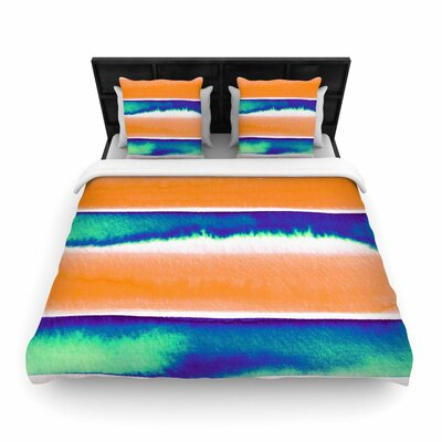 Ebi Emporium Summer Vibes Woven Duvet Cover Size: Twin, Color: Blue/Orange