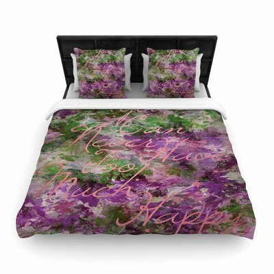 Ebi Emporium Too Much Happy Woven Duvet Cover Size: Full/Queen, Color: Purple/Green