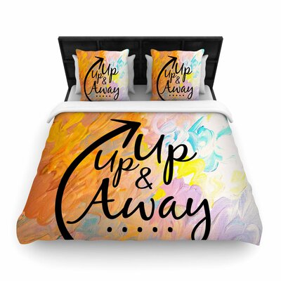 Ebi Emporium Up Up and Away Typography Woven Duvet Cover Size: King