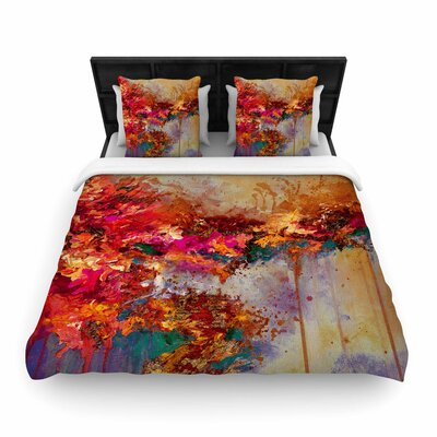 Ebi Emporium When Land Met Sky Woven Duvet Cover Size: King, Color: Red/Purple
