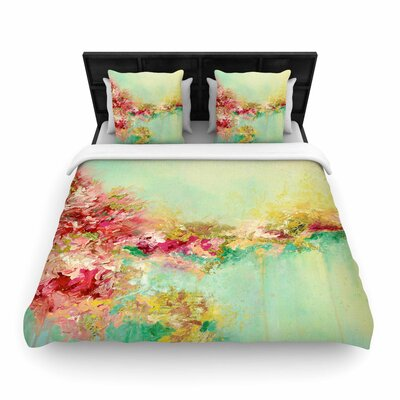 Ebi Emporium When Land Met Sky Woven Duvet Cover Color: Red/Green