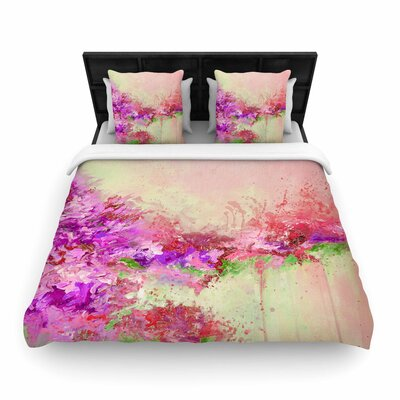 Ebi Emporium When Land Met Sky Woven Duvet Cover Size: Full/Queen, Color: Pink/Green
