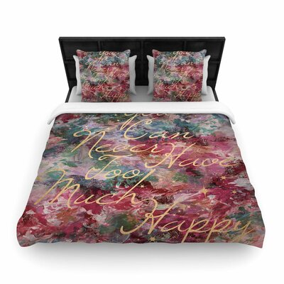 Ebi Emporium Too Much Happy Woven Duvet Cover Size: Twin, Color: Red/Teal