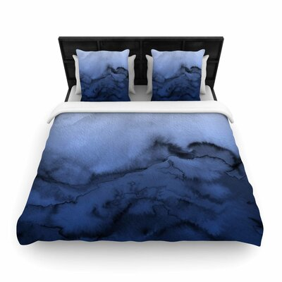 Ebi Emporium Winter Waves Watercolor Woven Duvet Cover Color: Dark Blue/Black
