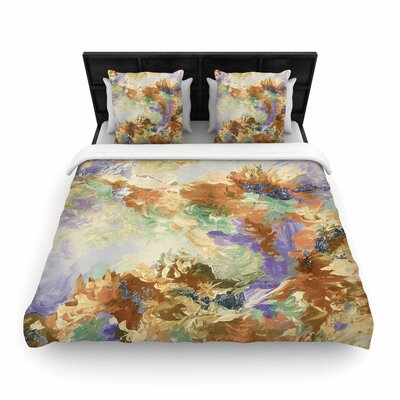 Ebi Emporium When We Were Mermaids Woven Duvet Cover Color: Lavender/Tan, Size: King