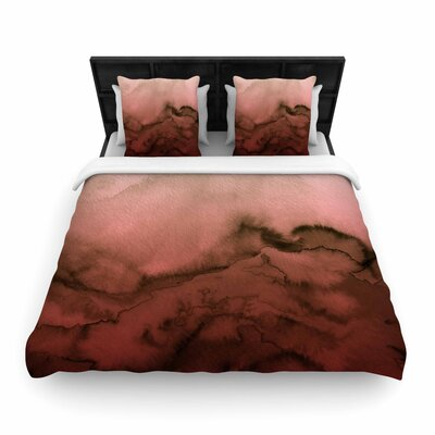 Ebi Emporium Winter Waves Watercolor Woven Duvet Cover Color: Red/Black, Size: Full/Queen