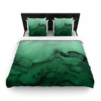 Ebi Emporium Winter Waves Watercolor Woven Duvet Cover Color: Green/Black, Size: Full/Queen