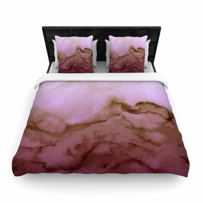 Ebi Emporium Winter Waves Watercolor Woven Duvet Cover Color: Pink Tan, Size: Twin