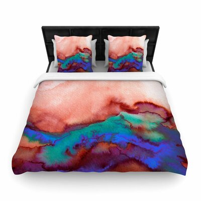 Ebi Emporium Winter Waves Watercolor Woven Duvet Cover Color: Maroon, Size: King