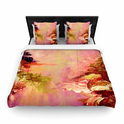 Ebi Emporium Winter Dreamland Woven Duvet Cover Color: Pink/Orange, Size: Full/Queen