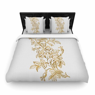 888 Golden Vintage Rose Floral Digital Woven Duvet Cover Size: Full/Queen